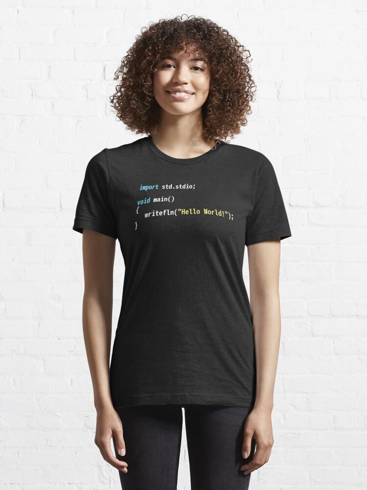 Alternate view of Hello World D Code - Dark Syntax Scheme Coder Design Essential T-Shirt