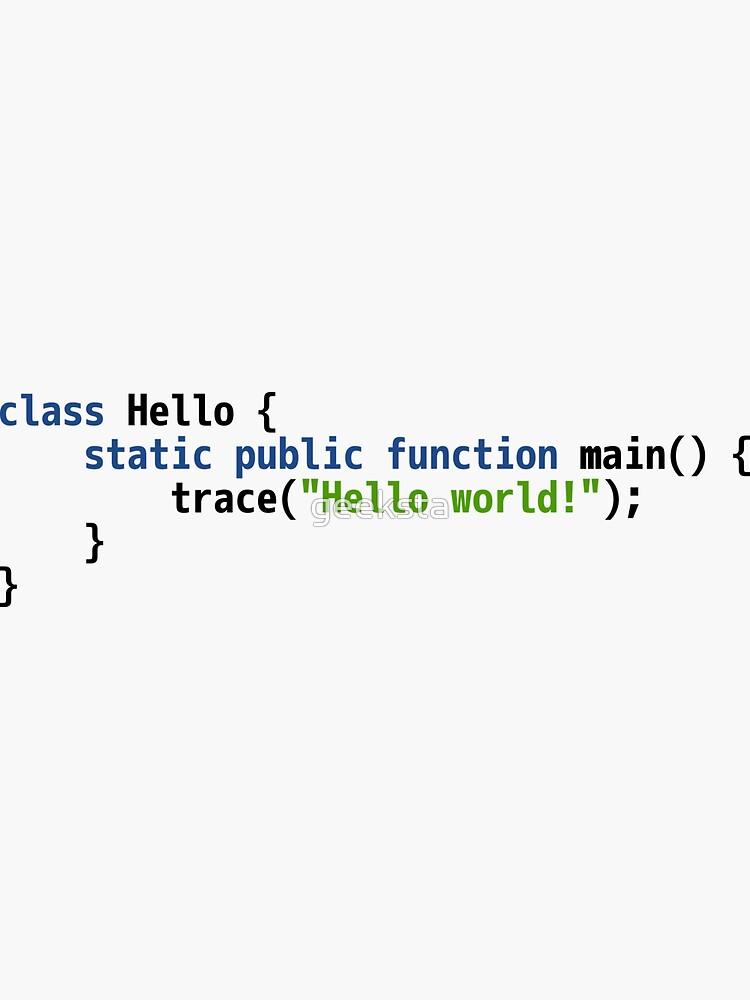 Hello World Haxe Code - Light Syntax Scheme Coder Design by geeksta
