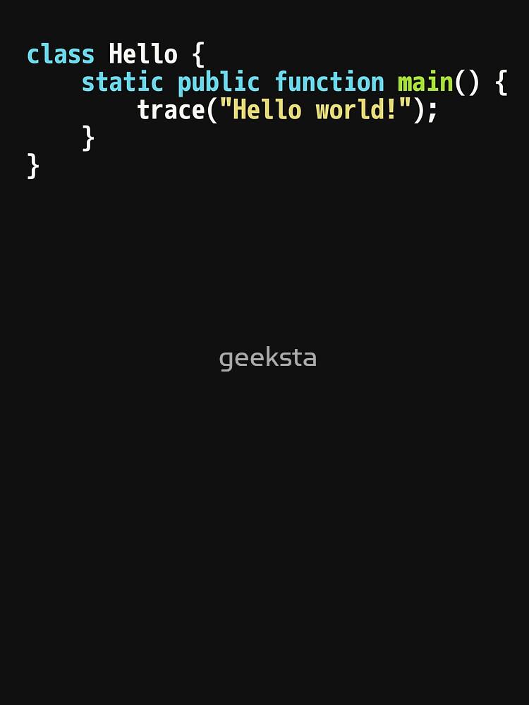 Hello World Haxe Code - Dark Syntax Scheme Coder Design by geeksta