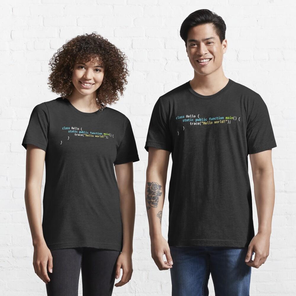 Hello World Haxe Code - Dark Syntax Scheme Coder Design Essential T-Shirt