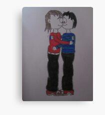 boy and girl kissing cartoon Canvas Print