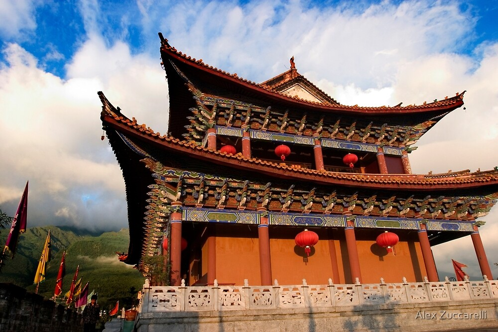Temple on the Wall - Dali, China by Alex Zuccarelli