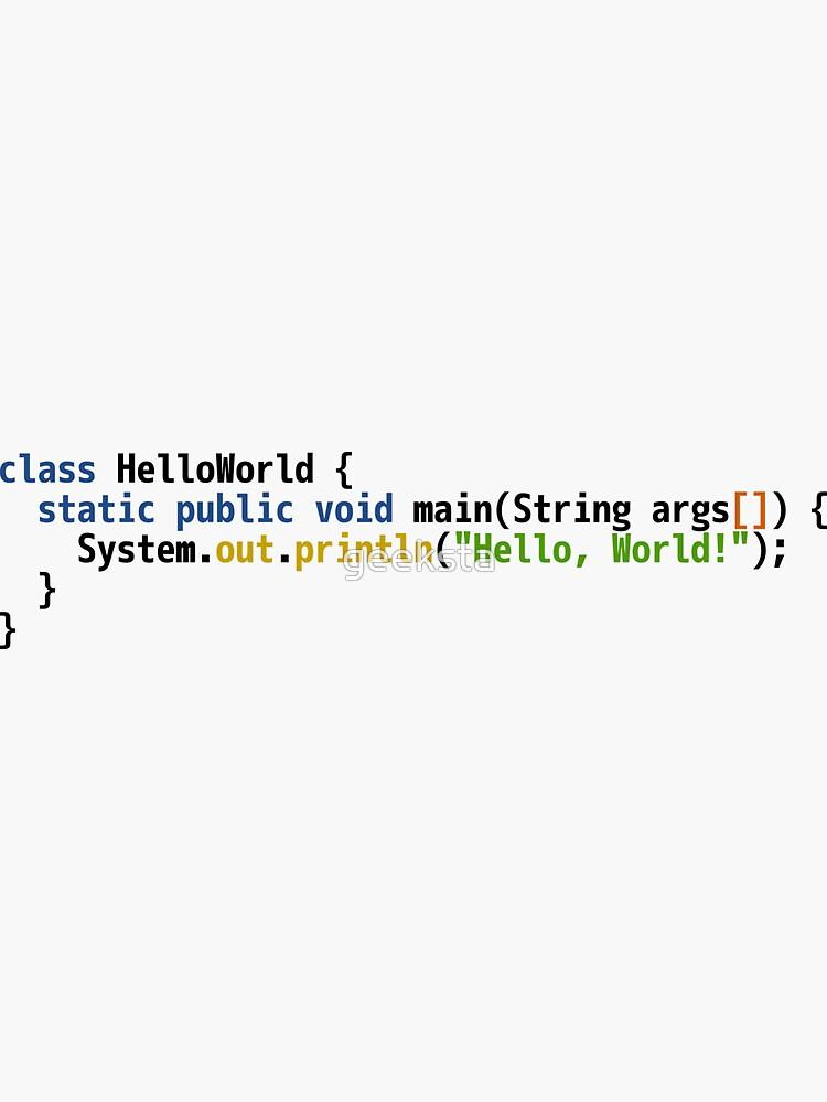 Hello World Java Code - Light Syntax Scheme Coder Design by geeksta