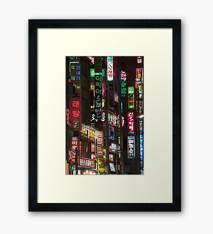 Neon Night - Changwon, South Korea Framed Print