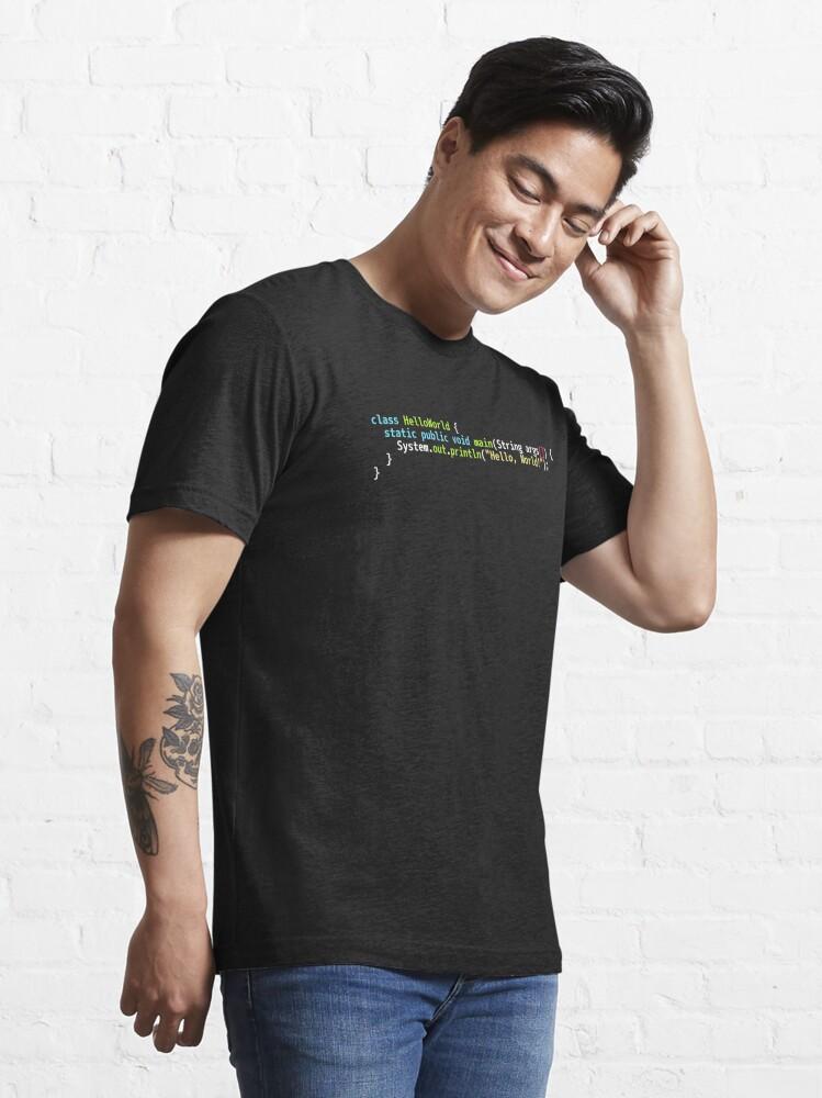 Alternate view of Hello World Java Code - Dark Syntax Scheme Coder Design Essential T-Shirt