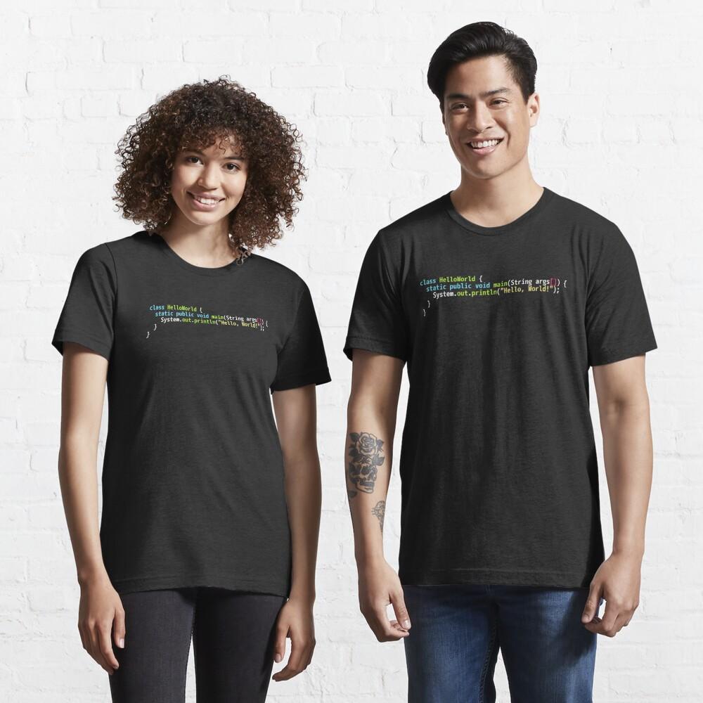 Hello World Java Code - Dark Syntax Scheme Coder Design Essential T-Shirt