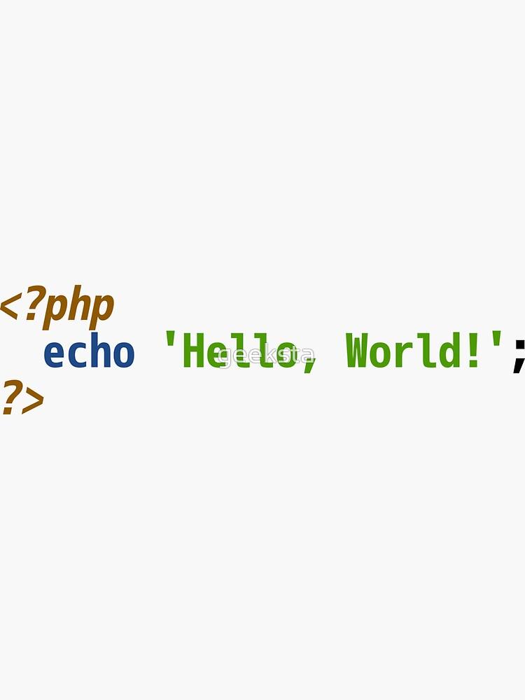 Hello World PHP Code - Light Syntax Scheme Coder Design by geeksta