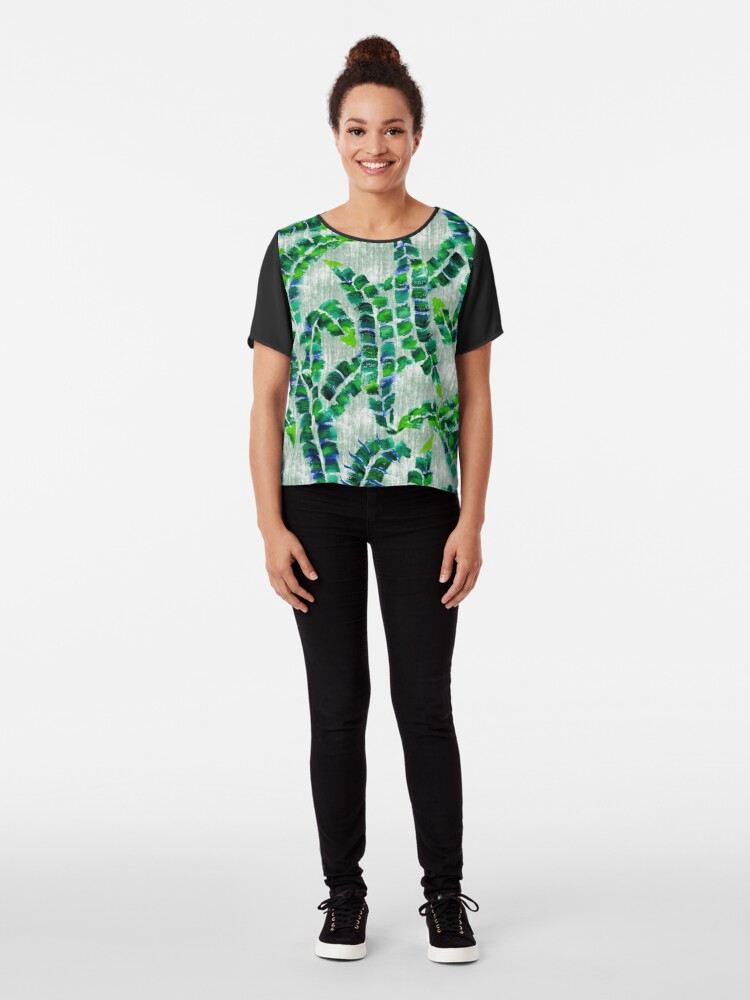 Alternate view of Hand-Painted Banana Leaves Green Botanical Plant Chiffon Top