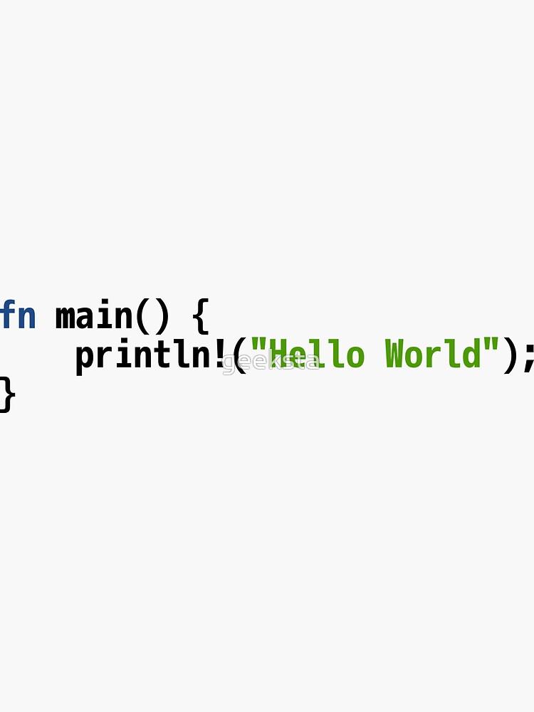 Hello World Rust Code - Light Syntax Scheme Coder Design by geeksta