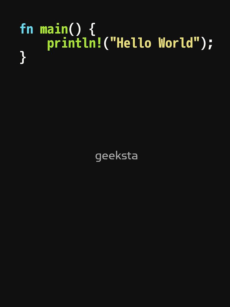Hello World Rust Code - Dark Syntax Scheme Coder Design by geeksta