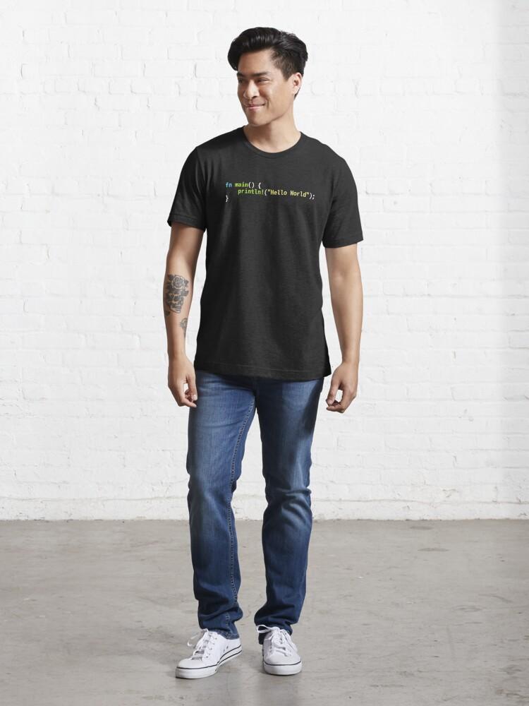 Alternate view of Hello World Rust Code - Dark Syntax Scheme Coder Design Essential T-Shirt