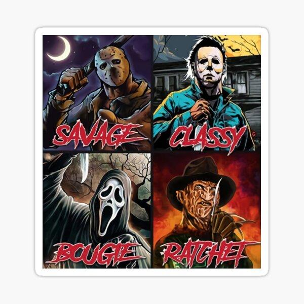 Jason Michael, Freddy Cartoon, Savage Classy Bougie Ratchet, Horror Characters. Sticker