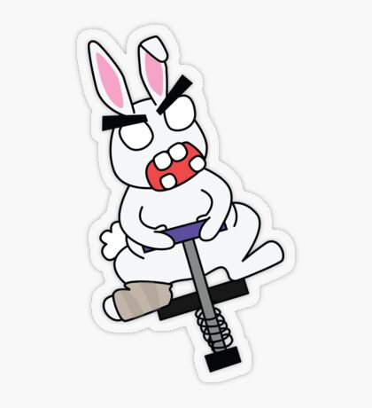 angry injured zombie bunny on a pogo stick Transparent Sticker