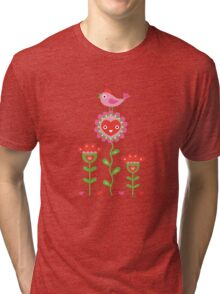 Happy - flower birds and hearts Tri-blend T-Shirt