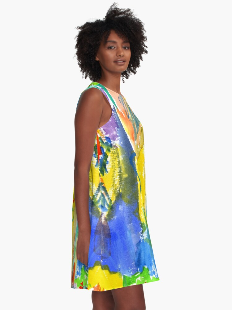 Alternate view of Watercolor Abstract Hearts Colorful Random Brushstrokes A-Line Dress