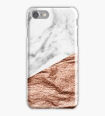 Rose gold foil marble geo iPhone Case/Skin