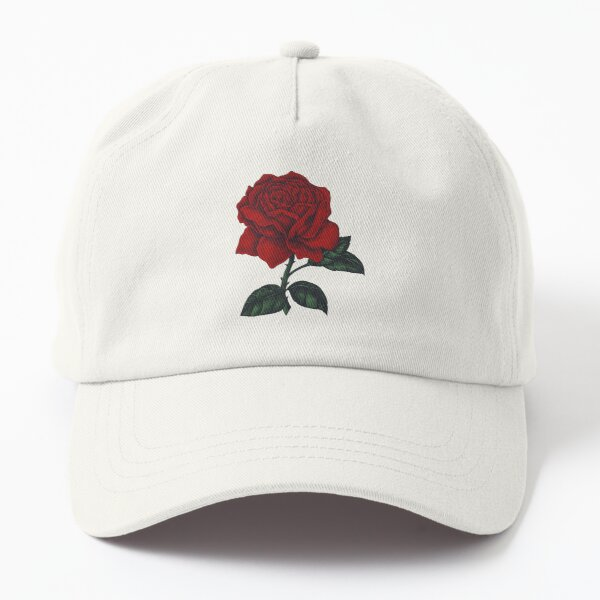 RED ROSE, Flower painting Dad Hat