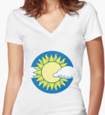 Sun and clouds Women's Fitted V-Neck T-Shirt