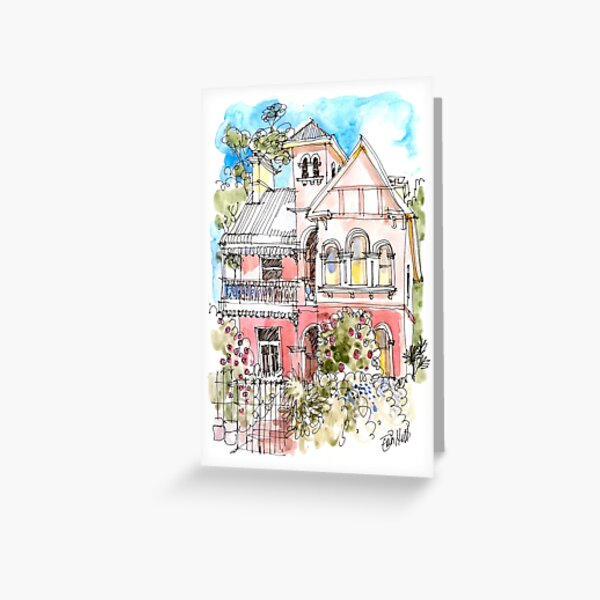 The Pink House on George St Greeting Card