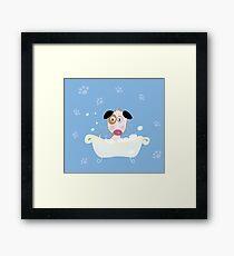 Cute dog bath. Bathing cute small doggie Framed Print