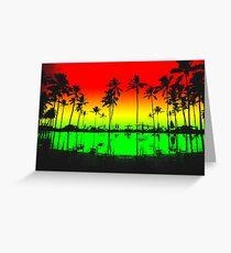 Rasta Colors Beach Silhouette Greeting Card
