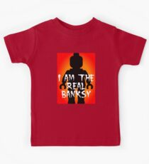 """Black Minifig with """"I am the Real Banksy"""" slogan, Customize My Minifig Kids Clothes"""