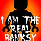 "Black Minifig with ""I am the Real Banksy"" slogan, Customize My Minifig by Customize My Minifig"