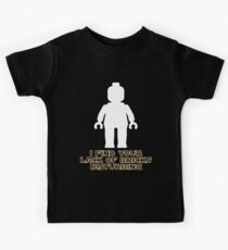"""I Find Your Lack of Bricks Disturbing"" by Customize My Minifig Kids Tee"