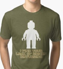 """""""I Find Your Lack of Bricks Disturbing"""" by Customize My Minifig Tri-blend T-Shirt"""