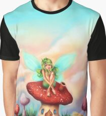 Green Fairy on Toadstool at Sunset Graphic T-Shirt