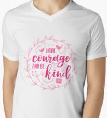 Have Courage and Be Kind Typography Raspberry Pink Men's V-Neck T-Shirt