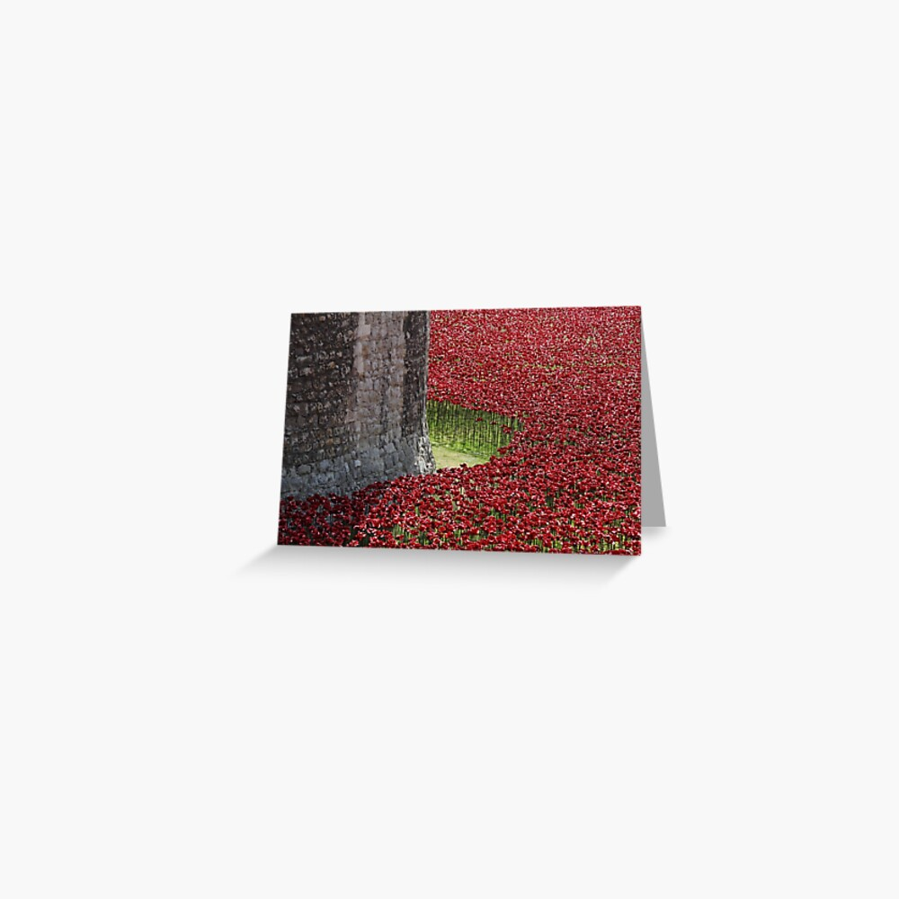 Ceramic poppies surround the Tower of London Greeting Card