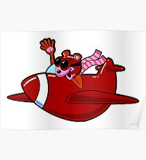 Cartoon Red Airplane Character Poster