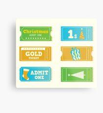 Blue and yellow retro cinema christmas tickets. Christmas shopping or entertainment Metal Print