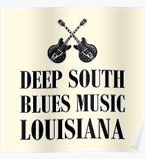 Deep south blues music (black) Poster