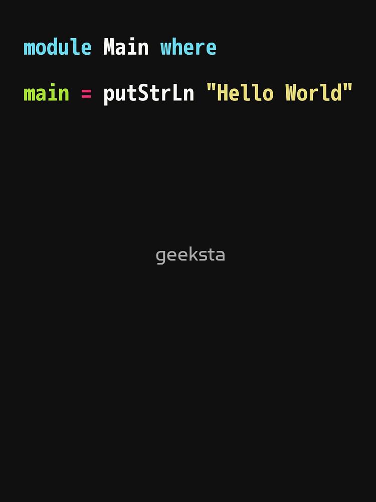 Hello World Haskell Code - Dark Syntax Scheme Coder Design by geeksta