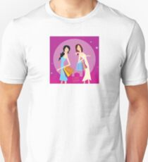 Shopping duo. Shopping girls in the city. Lifestyle fashion illustration T-Shirt