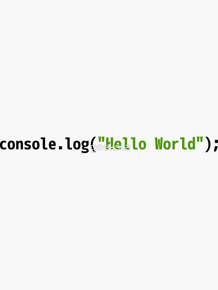 Hello World JavaScript Code - Light Syntax Scheme Coder Design by geeksta