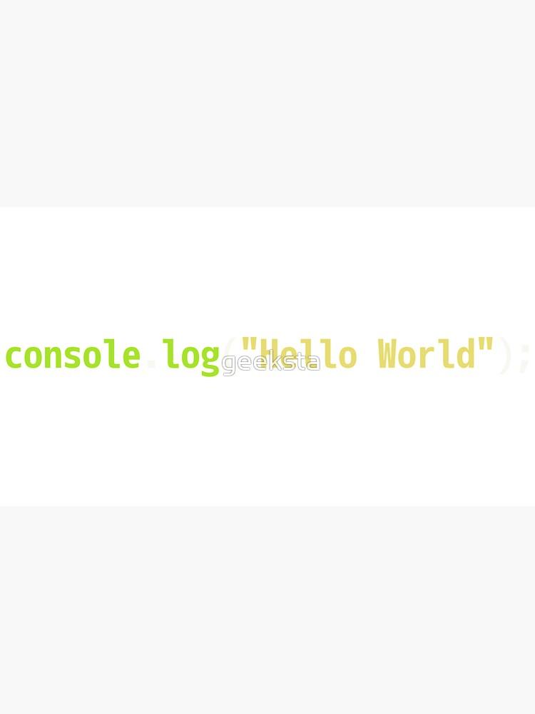 Hello World JavaScript Code - Dark Syntax Scheme Coder Design by geeksta