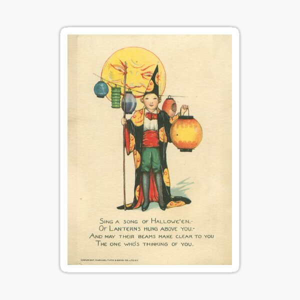 Vintage Halloween Card from Tuck Postcards (1918) Sticker