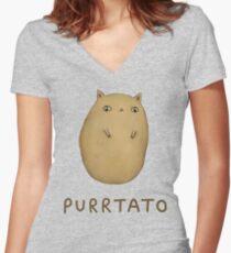 Purrtato Women's Fitted V-Neck T-Shirt
