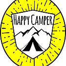 HAPPY CAMPER CAMPING TENT MOUNTAINS OUTDOORS LOVE YELLOW by MyHandmadeSigns