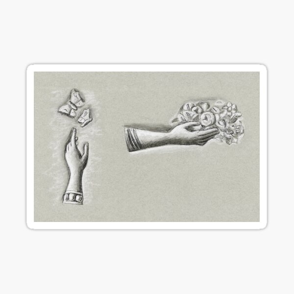 Hands with flowers and butterflies (ca. 1891–1941) drawing in high resolution by Leo Gestel Sticker