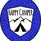 HAPPY CAMPER CAMPING TENT MOUNTAINS OUTDOORS LOVE BLUE by MyHandmadeSigns