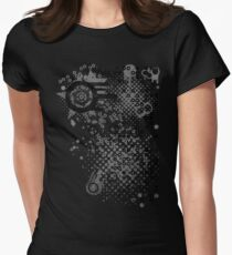 Retro Dots and Circles Halftone  Women's Fitted T-Shirt