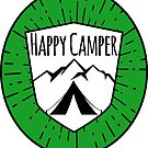 HAPPY CAMPER CAMPING TENT MOUNTAINS OUTDOORS LOVE GREEN by MyHandmadeSigns