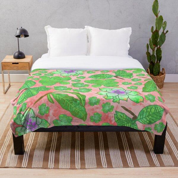 Watercolor Plants Throw Blanket
