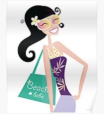 Hot beach chic. Sexy beach babe with shopping bag. Vector Illustration. Poster