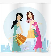 Shopping womans in the city. Shopping womans in town isolated on white. Poster