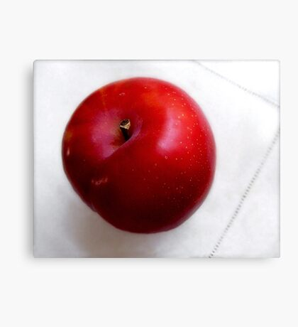 Red Plum on a White Cloth Canvas Print